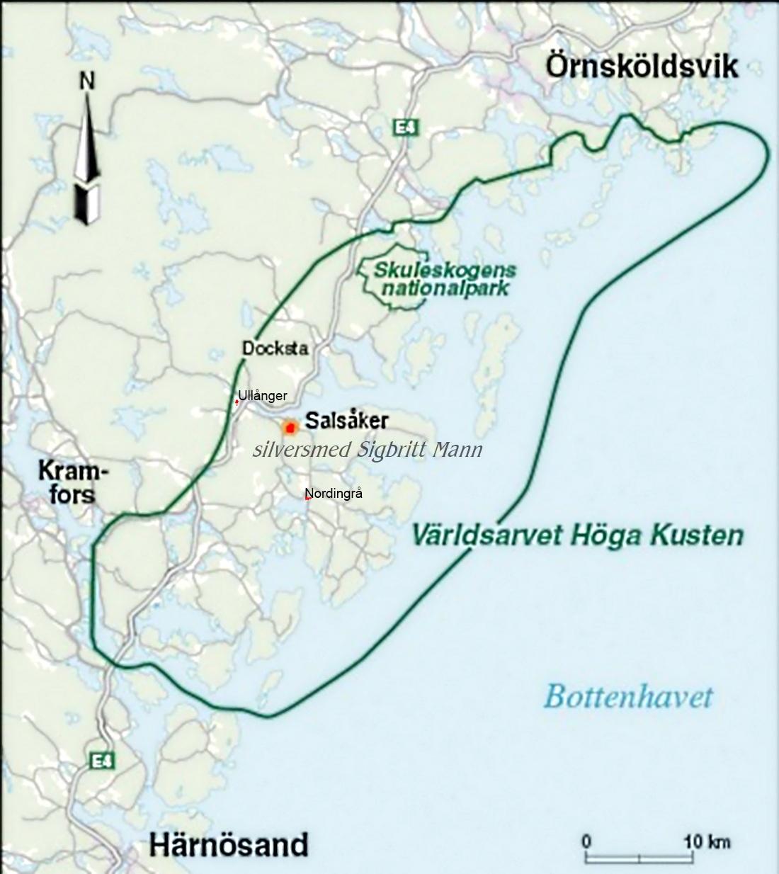 höga kusten karta Silversmedjan i Salsåker Karta Höga Kusten höga kusten karta